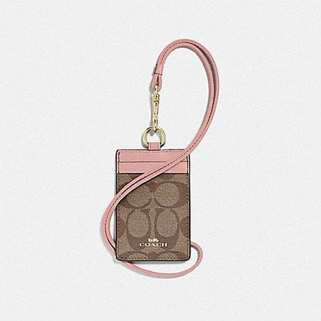 Coach Lanyard ID in Signature Canvas F63274 (Imitation Gold/Khaki/Pink Petal)