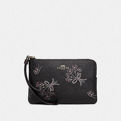Coach Corner Zip Wristlet with Ribbon Bouquet Print F78093 (Imitation Gold/Black Pink Multi)
