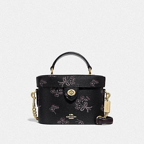 Coach Kay Crossbody with Ribbon Bouquet Print F76713 (Imitation Gold/Black Pink Multi)