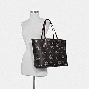 Coach Reversible City Tote with Ribbon Bouquet Print F78283 (Imitation Gold/Black Pink Multi/Oxblood)