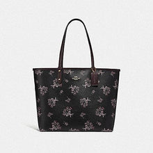 Load image into Gallery viewer, Coach Reversible City Tote with Ribbon Bouquet Print F78283 (Imitation Gold/Black Pink Multi/Oxblood)