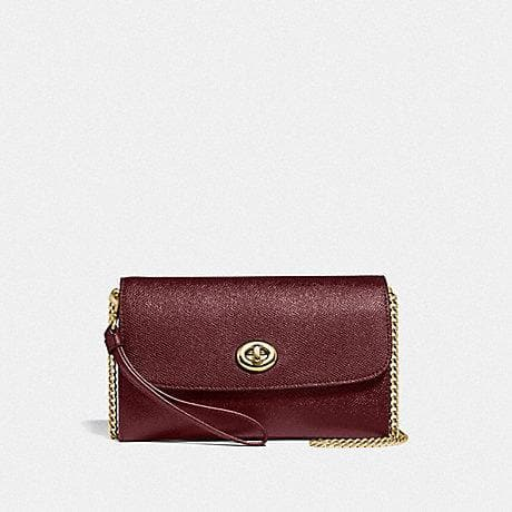 Coach Chain Crossbody F33390 (Imitation Gold/Wine)