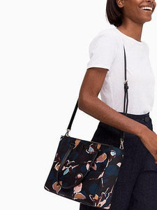 MEDIUM SATCHEL DAWN PAPER ROSE BLACK NAVY MULTI