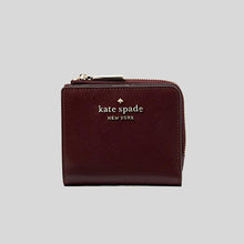 Load image into Gallery viewer, Kate Spade Small Staci WLR00143 L-Zip Bifold Wallet In Cherrywood