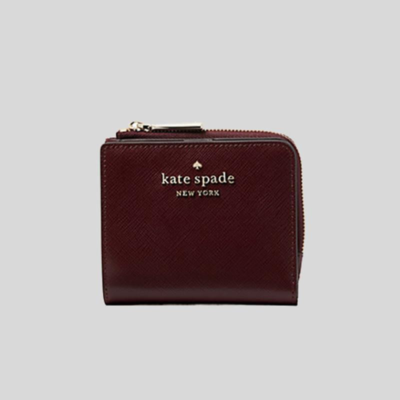 Kate Spade Small Staci WLR00143 L-Zip Bifold Wallet In Cherrywood