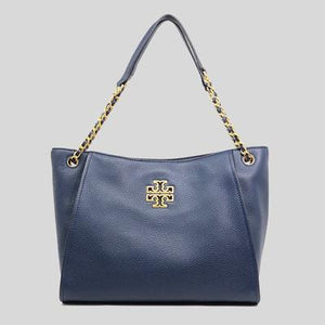 Tory Burch Small Britten 73503 Slouchy Tote Bag In Royal Navy