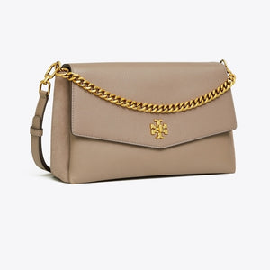 Tory Burch Kira Mixed-Materials Double-Strap Shoulder Bag In Gray Heron