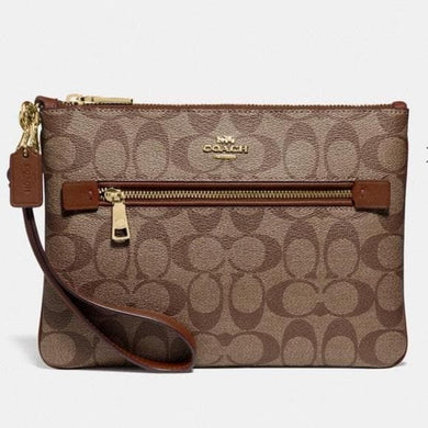 Coach Signature Gallery Pouch F79896 IME74 in Light Khaki Saddle