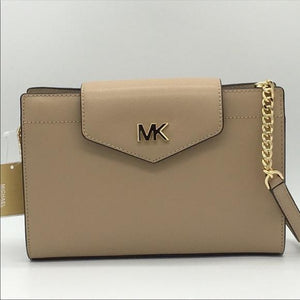 Michael Kors Mott Large Clutch Crossbody Leather 35S0GOXC7L In Bisque