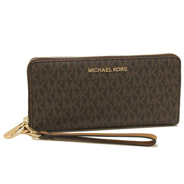Michael Kors Jet Set Travel Zip Around Continental Wallet 35F8GTVT3B In Brown Acorn