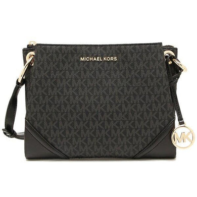 Michael Kors Nicole Large Triple Compartment Crossbody Bag 35H9GNIC9B In Black