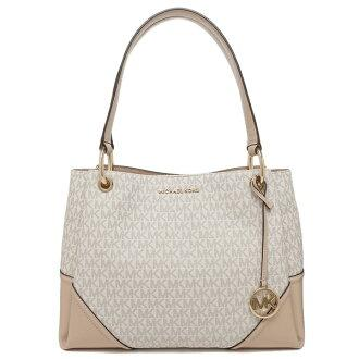 Michael Kors Nicole Large Shoulder Tote Bag 35H9GNIE7B In Vanilla Multi