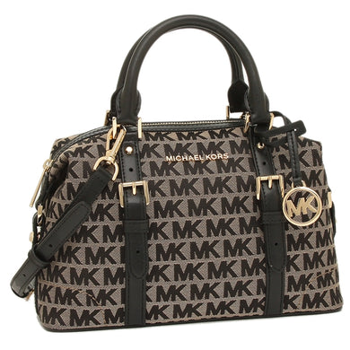 Michael Kors Ginger Small Duffle Satchel 35H9GYJS5J In Beige Black