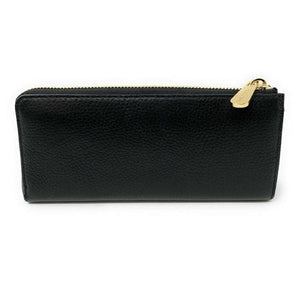 MICHAEL KORS JET SET TRAVEL LARGE THREE QUARTER ZIP WALLET (BLACK/GOLD)