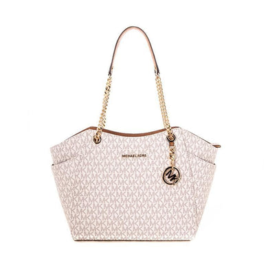 (AS IS) Michael Kors Jet Set Travel Large Chain Shoulder Tote 35F8GTVE7B In Vanilla