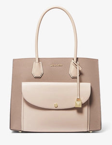 Michael Kors Mercer XL Pocket Tote Bag 30F9GM9T3T In SoftPink/Fawn