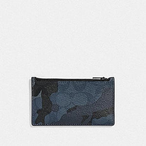 Coach Zip Card Case in Signature Canvas with Camo Print F78034 (Blue Multi/Black Antique Nickel)