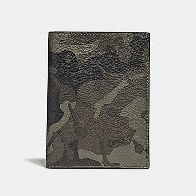Coach Passport Case with Camo Print F77977 (Green/Black Antique Nickel)
