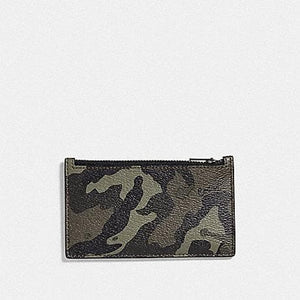 Coach Zip Card Case with Camo Print F77930 (Green/Black Antique Nickel)