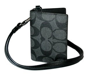Coach Lanyard ID Card Case in Signature Canvas F36139 (Charcoal/Black/Black Antique Nickel)