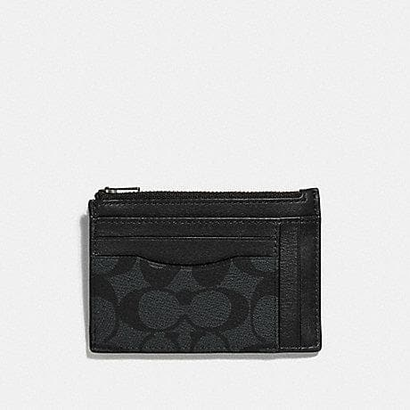 Coach Multiway Zip Card Case in Signature Canvas F66649 (Charcoal/Black/Black Antique Nickel)