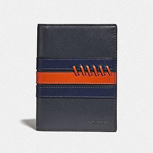 Coach Passport Case with Baseball Stitch F78998 (Midnight Navy/Cadet/Dark Orange/Black)