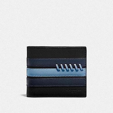 Coach 3-in-1 Wallet with Baseball Stitch F76947 (Black/Midnight Navy/Washed blue)