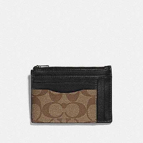Coach Multiway Zip Card Case in Signature Canvas F66649 (Tan/Black Antique Nickel)