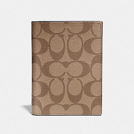 Coach Passport Case in Signature Canvas F93518 (Tan/Black Antique Nickel)