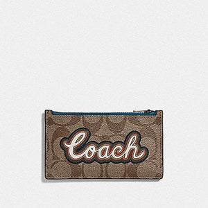 Coach Zip Card Case in Signature Canvas with Coach Script F76866 (Tan/Black Antique Nickel)