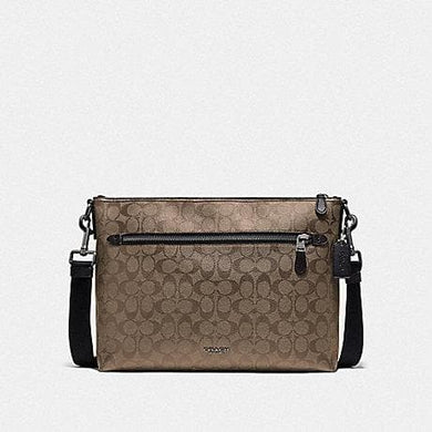 Coach Graham Soft Messenger in Signature Canvas F78722 (Tan/Black Antique Nickel)