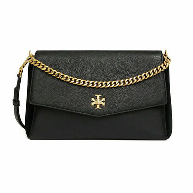 Tory Burch Kira Mixed-Materials Double-Strap Shoulder Bag In Black