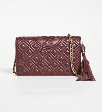 Tory Burch Fleming Wallet And Crossbody Bag 50263 In Claret