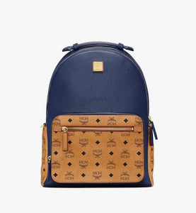 (PRE-ORDER) MCM Stark Backpack in Visetos Leather Block (Blue | Dark Sapphire)