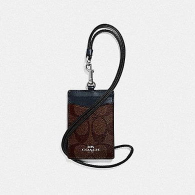 Coach Lanyard ID in Signature Canvas F63274 (Silver/Brown Midnight)