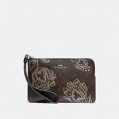 Coach Corner Zip Wristlet in Signature Canvas with Tulip Print F78095 (Silver/Chestnut Metallic)