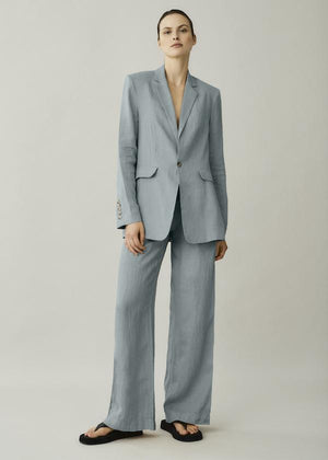 ASCENO RIVELLO DUST BLUE LINEN WIDE LEG TROUSER