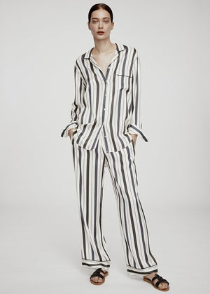 ECRU STRIPE OVERSIZED SILK SHIRT