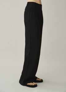 ASCENO RIVELLO BLACK LINEN WIDE LEG TROUSER
