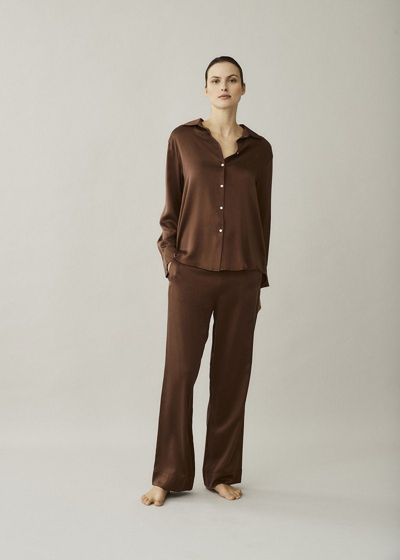 ASCENO LONDON BROWN SILK TROUSER