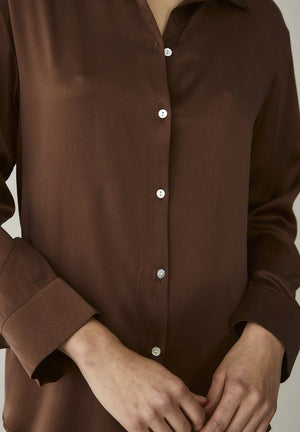 ASCENO LONDON DUSK BROWN SILK SHIRT
