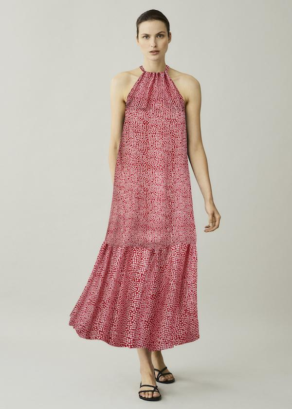 ASCENO IBIZA MOSAIC RED PRINTED SILK MAXI DRESS