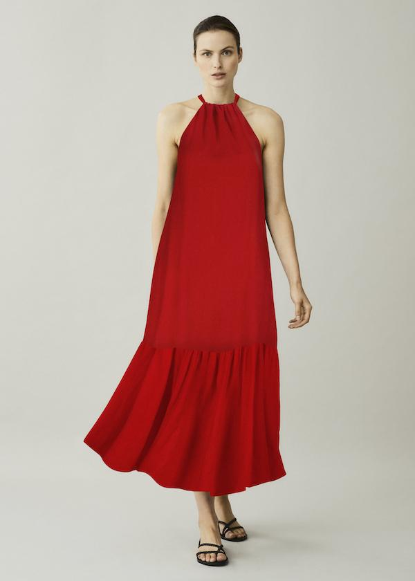 ASCENO IBIZA POPPY RED LINEN MAXI DRESS