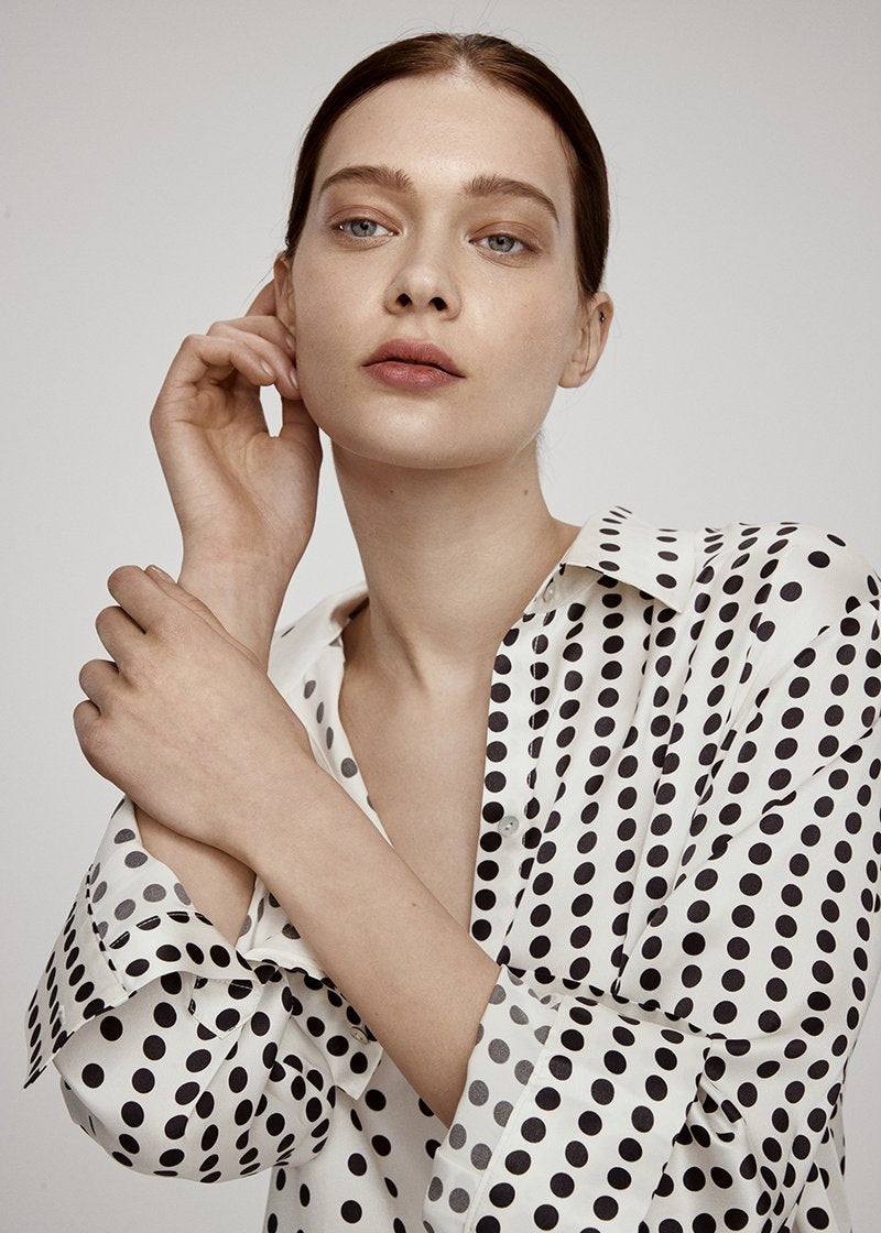 ECRU LARGE DOT SILK SHIRT