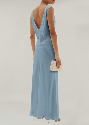 ASCENO BORDEAUX DUST BLUE SILK SLIP DRESS