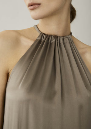 ASCENO IBIZA BROWN TAUPE SILK MAXI DRESS