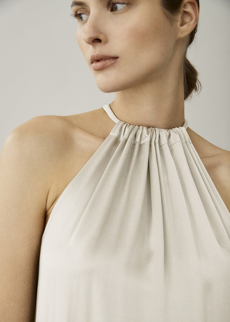 ASCENO IBIZA CREAM SILK TWILL DRESS