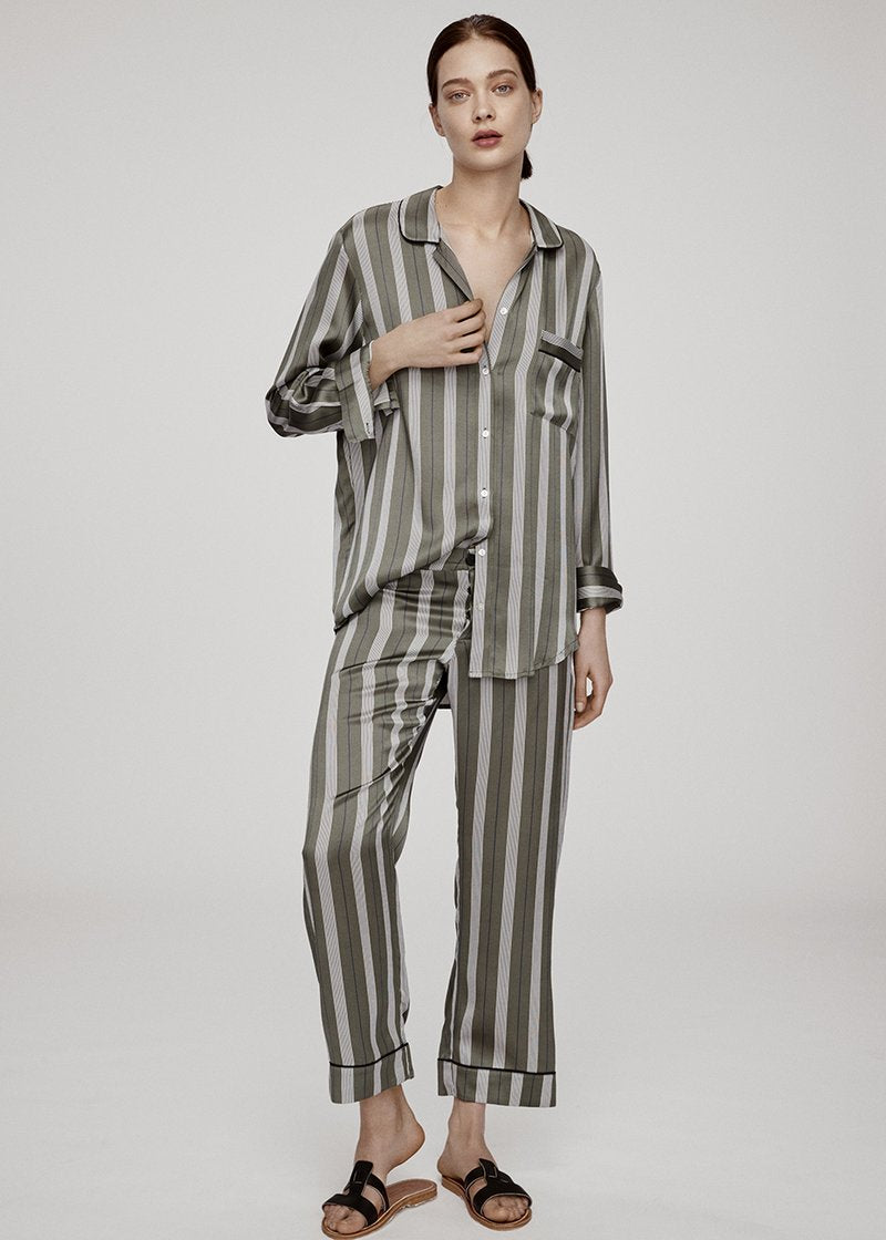 OLIVE STRIPE SILK CROPPED TROUSER