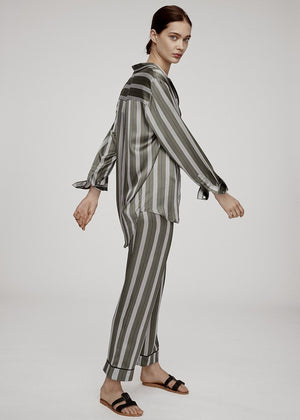OLIVE STRIPE OVERSIZED SILK SHIRT