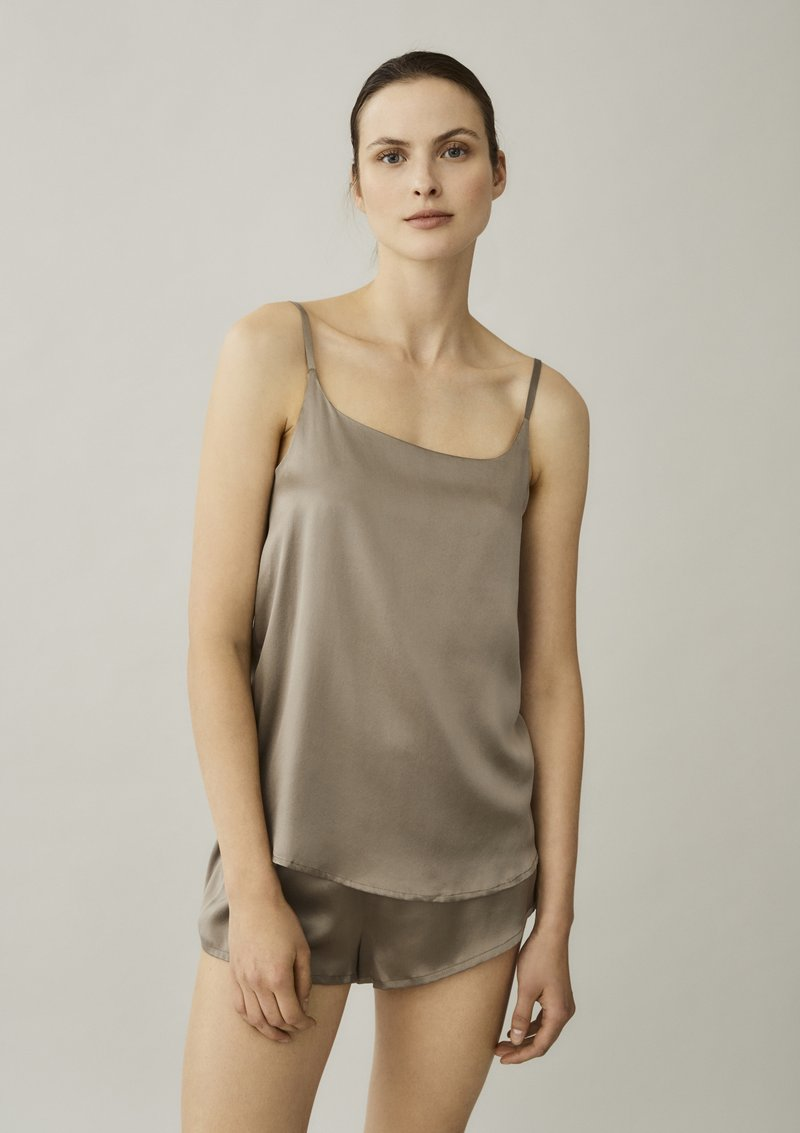 ASCENO VENICE BROWN TAUPE SILK CAMI